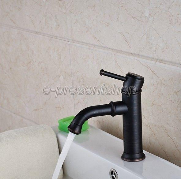 Negro aceitado latón grifo de una sola manija baño grifo mezclador de lavabo Bnf286
