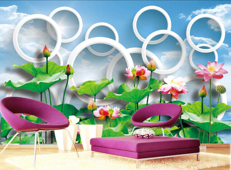 3D Himmel Lotus Natur 57 Tapete Tapeten Mauer Foto Familie Tapete Wandgemälde DE