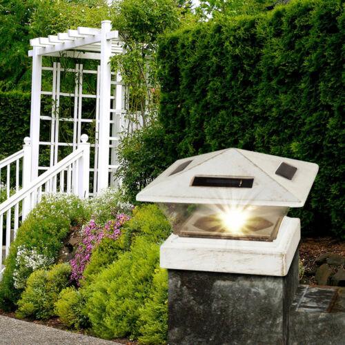 DEL Solaire Extérieur Lampe Debout Jardin meneaux Capuchon Cour socle luminaire blanc antique