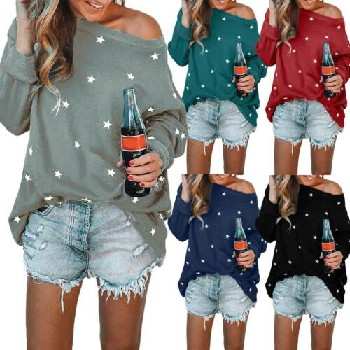 Damen Lose Pullover Langarm Oberteile Sweatshirt Sweater Pulli One Shoulder Tops