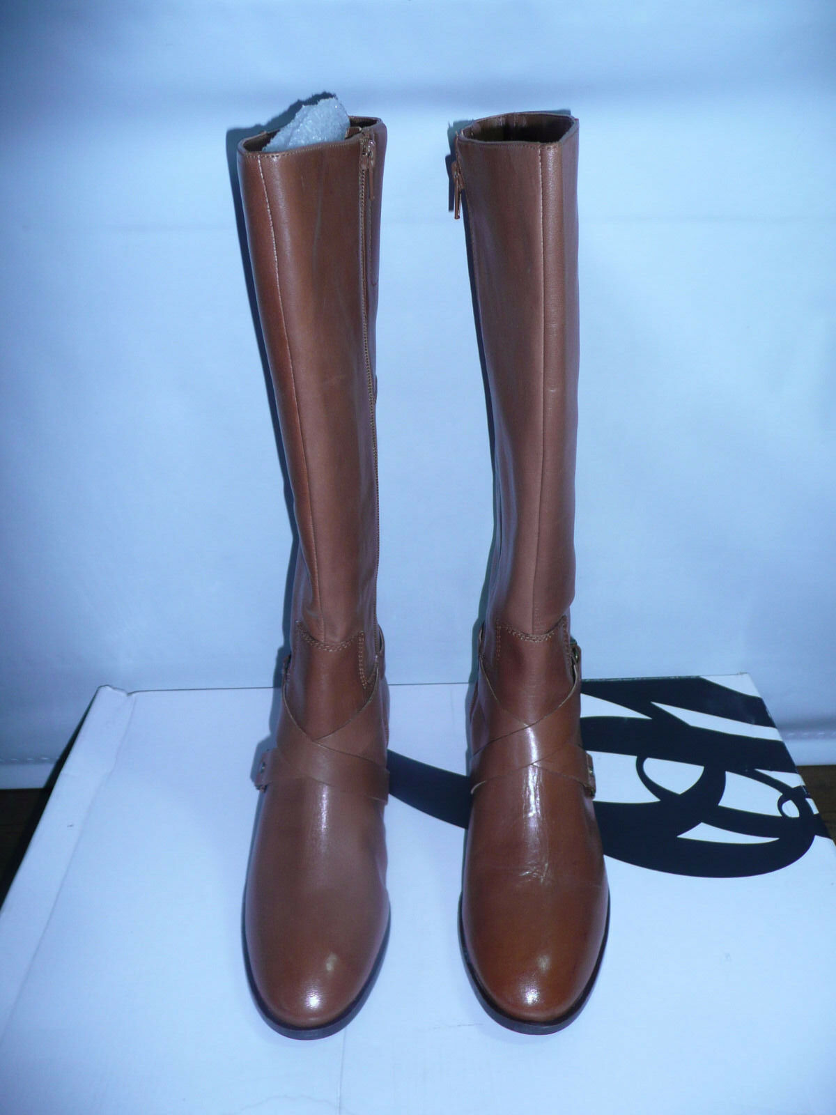 Nine West Women's Blogger Harness Boot,Dark Natural,7.5 M US