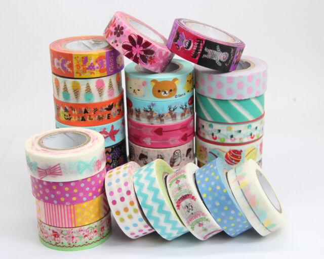 New 1.5cm×10M  paper Sticky Adhesive Sticker Decorative Washi Tape 10pcs