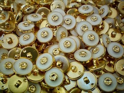 15mm 24L Ivory White /& Gold Flower Shank Dress Jacket Coat Button Buttons W653