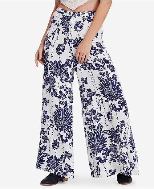 Free People Womens Sundae Stroll OB751126 Pants Wide White Combo White Size XS