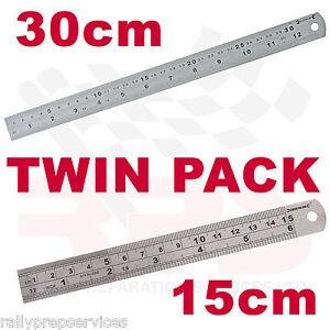 TWIN-PACK-30CM-15CM-STAINLESS-STEEL-METRIC-amp-IMPERIAL-METAL-RULER-ENGINEERING