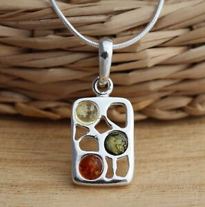 Multicolour-Baltic-Amber-925-Sterling-Silver-Pendant-Chain-Necklace-Jewellery