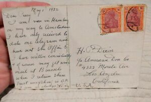 Germany #130 or #210 1920 1 1/4M Pair On 1922 Postcard Cover Watermark Unchecked