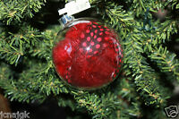 Pier 1 Imports 3 Clear Glass Round Ball Ornaments W/ Red Feathers Inside