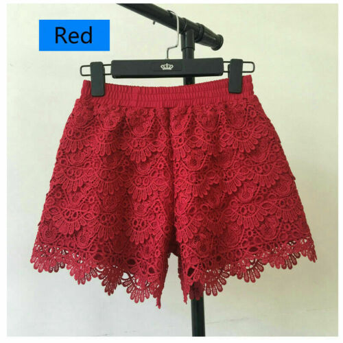 Damen Spitzen Shorts Patchwork Sicherheit Hotpants Elastisch Bund Mini Hose