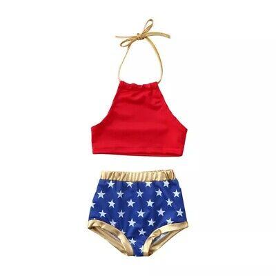 NEW Wonder Woman Girls Bikini Swimsuit 4th of July Patriotic