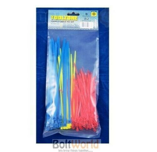 150pc ASSORTED CABLE TIES SET SMALL RED YELLOW BLUE ZIP TIE COLOURS IN BAG