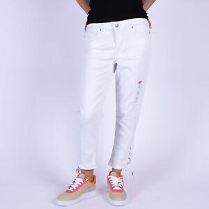 Levi-039-s-Classic-Crop-Weiss-stretch-Damen-jeans-mit-Schnuersenkeln-Groesse-28-W28