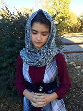 Silver tassel Sequined rectangle veils snd mantillas Catholic scarf headcovering