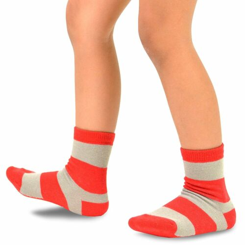 TeeHee Kids Boys Basic Stripe Crew Socks 6 Pair Pack Rugby Striped Soft Warm