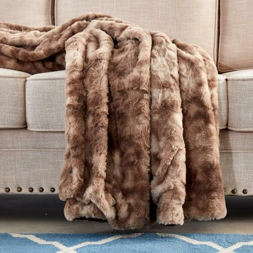 Xmas Gift Multi-Color Faux Fur Bed Throw//Twin Blanket Super Soft Fuzzy Cozy Warm