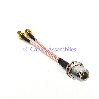 N TYPE Female Bulkhead to Y 2X N TYPE Male Splitter Combiner RG316 RF CABLE
