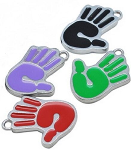 4 x Enamel Hand Charms Qty 4  Mixed Colours 22x15x2mm Findings Crafts EHC4