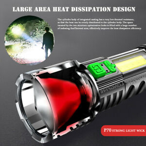 Ultra Bright Outdoor LED Torch USB Rechargeable Flashlight Camping Lamps