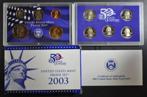 2003 S U.S Mint 10 coin Clad Proof Set with box /& COA original packaging