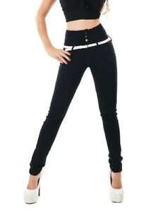 Ladies-High-waist-super-skinny-stretchy-Jeans-Trousers-Black-Sizes-UK-6-14