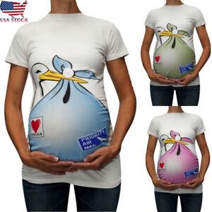 Maternita-Divertente-motivo-stampa-Women-039-s-manica-corta-camicetta-T-shirt-Top-in-gravidanza