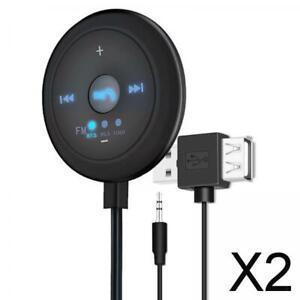 2X Universal Vehicle FM Transmitter Base 5x5x1,7 Cm Bluetooth V5.0 + EDR Für