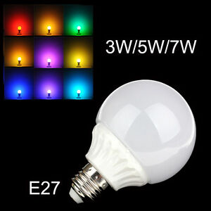 e27 3w 5w 7w auto color changing rgb led bulb globe light ball lamp disco 220v ebay. Black Bedroom Furniture Sets. Home Design Ideas