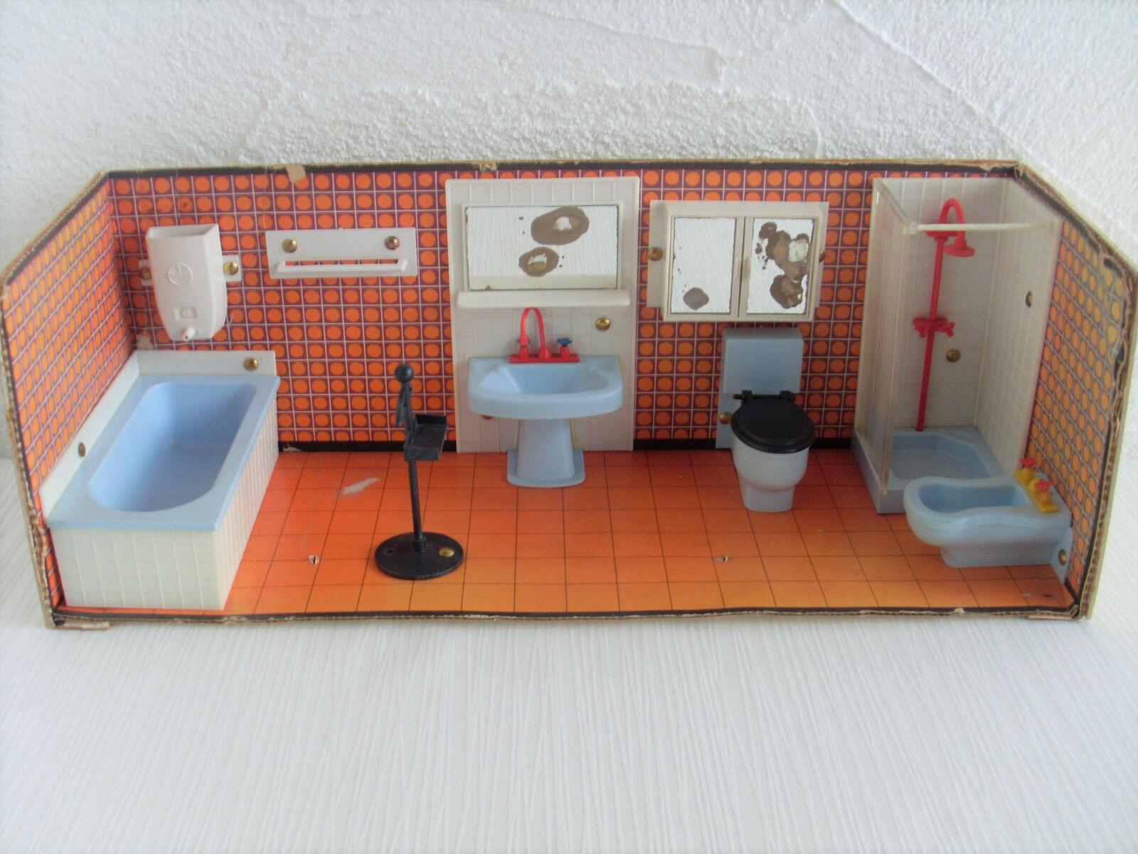 Badezimmer Modella Puppenhaus Puppenstube 70er Jahre Puppenmöbel