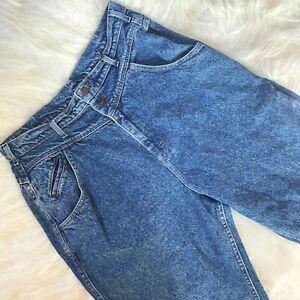 Vintage 80s Lee High Waist Jeans 32 x 28 Womens USA Made Acid Wash