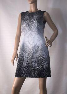 JAYSON-BRUNSDON-SIZE-12-BLACK-LABEL-ABSTRACT-PRINT-SHIFT-DRESS