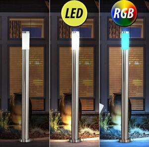 Design LED Außen Steh Stand Lampe Leuchte RGB FERNBEDIENUNG Edelstahl Garten Hof