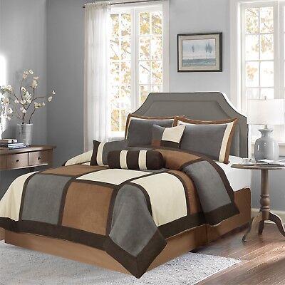 Burgundy /& Brown /& Beige Suede 7-piece Patchwork Comforter Set Winter Bedding