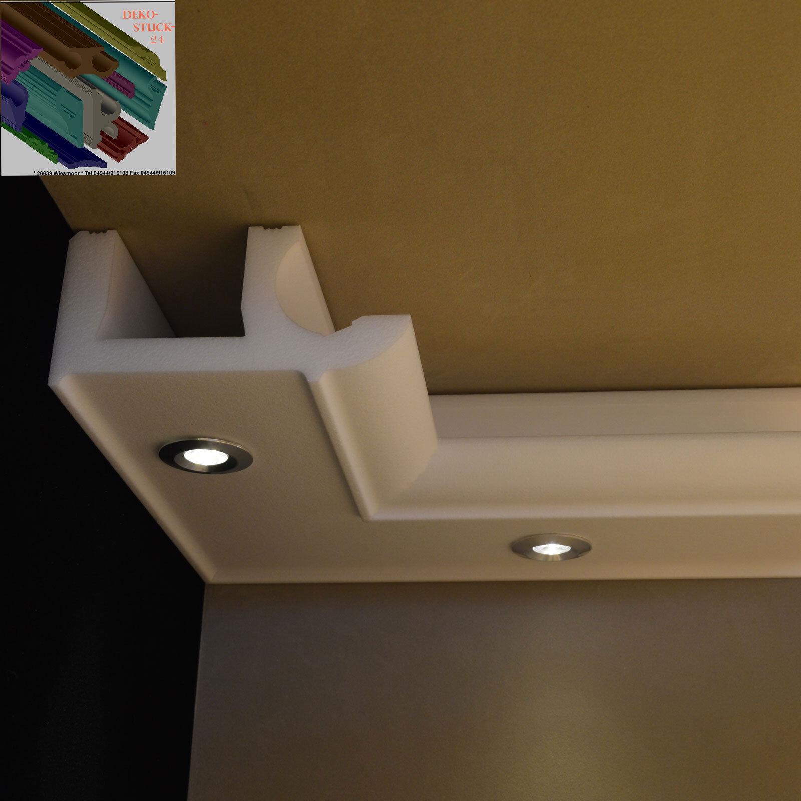 Stuckleisten LED Beleuchtung Stuckprofil Tjorben 137x70mm 10 Meter+4 Innenecken