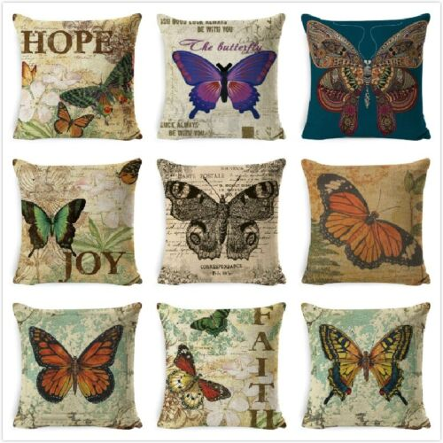 Vintage Butterfly Flower Cushion Cover Retro Text Throw Pillow Cover for Sofa