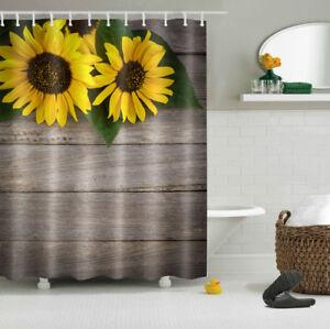 Image Is Loading US STOCK Rustic Wooden Planks Sunflowers Bathroom Fabric