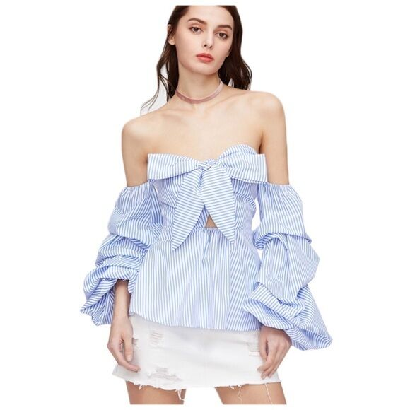 Blau & Weiß Ruffle Side Sleeve Off The Shoulder Bow Bust Blouse Top D69