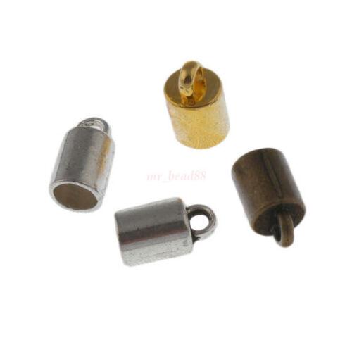 100Pc Artisanat Collier Bracelet Cordon Cuir End Bead Cap bouchon Fit 4 MM BEAD Cap