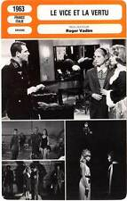 FICHE CINEMA : LE VICE ET LA VERTU - Girardot,Deneuve,Vadim 1963 Vice And Virtue