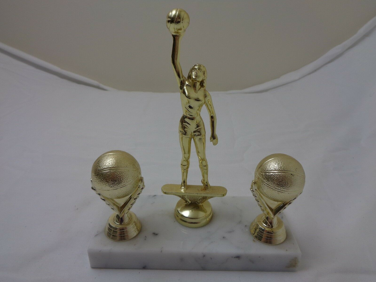 Vintage Women's Basketball Trophy on Marble Base