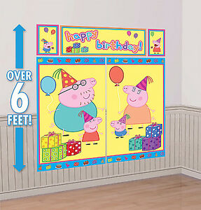 Peppa pig scene setter happy birthday party wall decorations kit mom dad george - Princess party wall decorations ...
