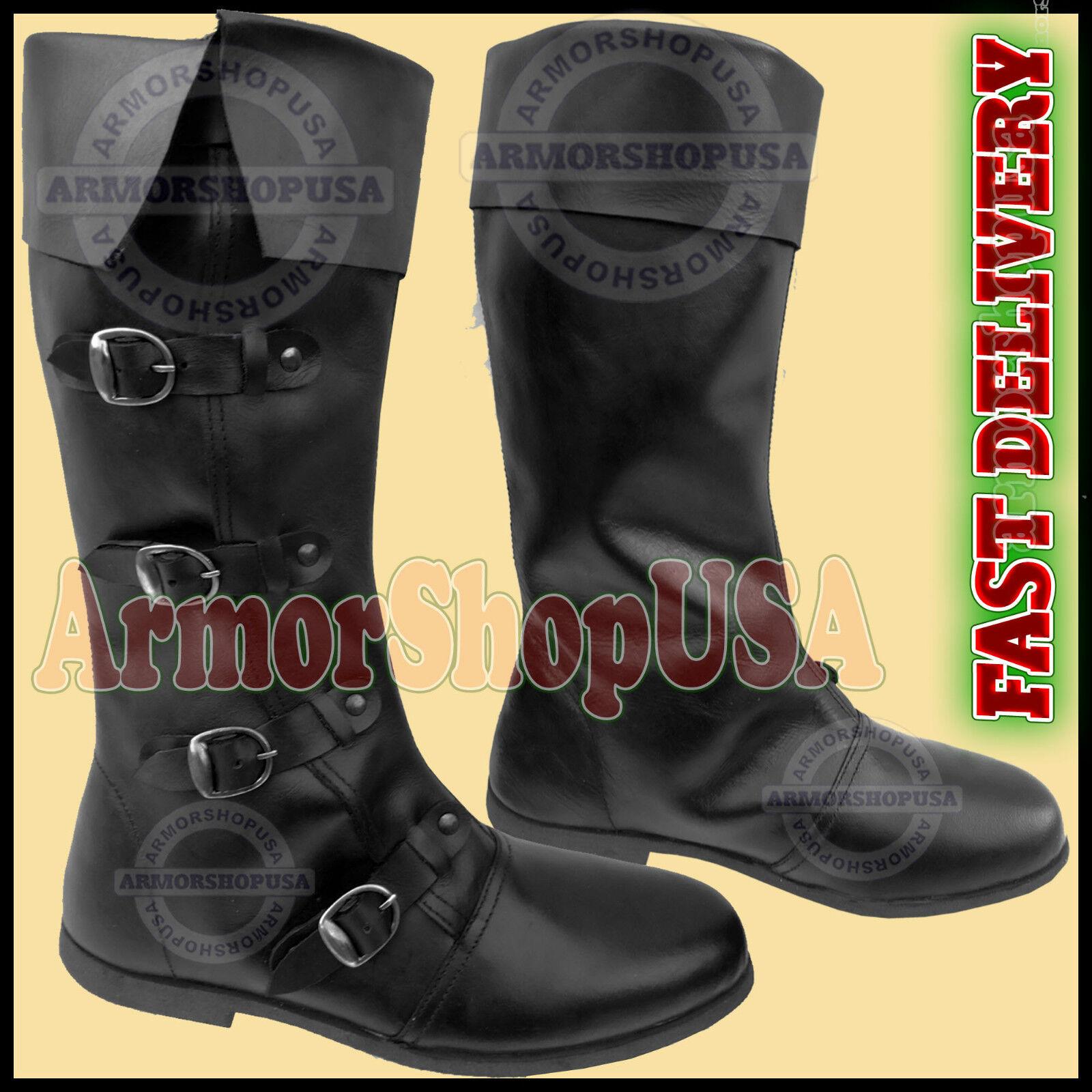 79adab29 Medieval botas De Cuero Nueva Para Hombre Calzado Larp de juego de rol  Pirata Disfraz De