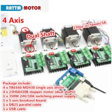 4 Axis Cnc Kit Nema23 Stepper Motor 270oz In 76mm Dual Shafttb6560 Driverboard