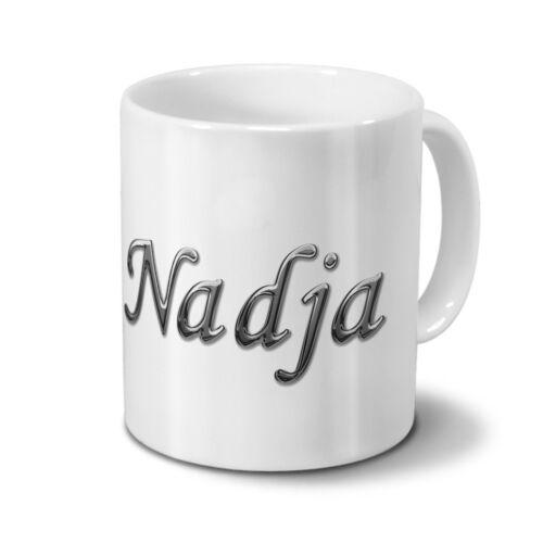 Chrom-Schriftzug Tasse mit Namen Nadja