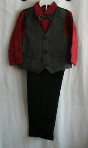 f53fc5f1dcff Boys Holiday Edition 4 Piece Suit Set Pants Vest Bow Tie Dress Shirt ...