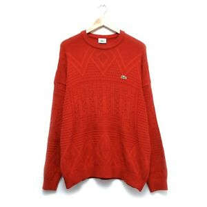 Vintage-90-Lacoste-Men-s-Red-Sweater-Pullover-Size-4-Large