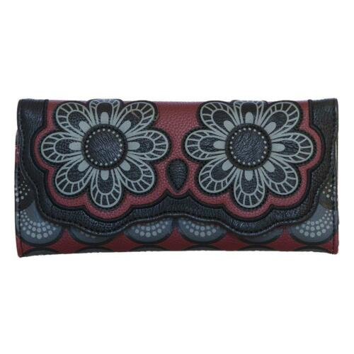 Loungefly Wallet Red and Grey Owl Trifold Clutch Vegan Faux Leather Coin Purse