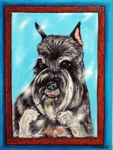 schnauzer dog art poster gift modern folk art 4x6 bathroom ...