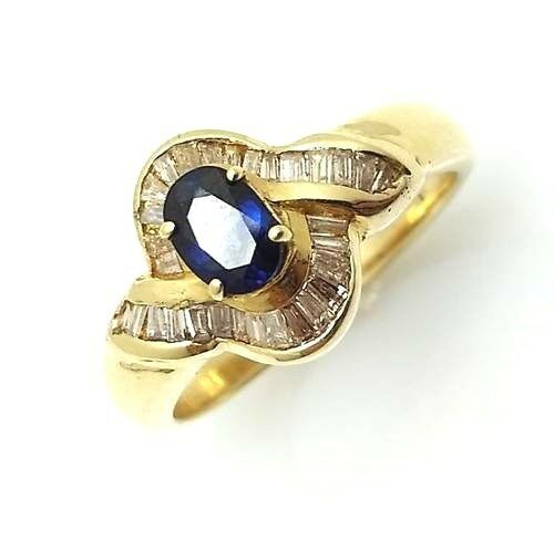 0.50CT Genuine Diamond and Sapphire Ring 14k Solid Yellow gold