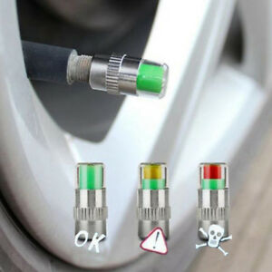 4-X-Auto-Reifenmonitor-Ventil-Staubkappe-Druckanzeige-Sensor-Augenalarm-DE