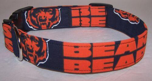 Wet Nose Designs Chicago Bears Hand Made Dog Collar Football NFL Blue Orange